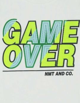 Camiseta Name It Game Over Blanca Mini Niño