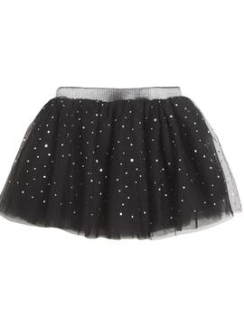 Falda Newness Tul Con Brillo Negra Mini Niña