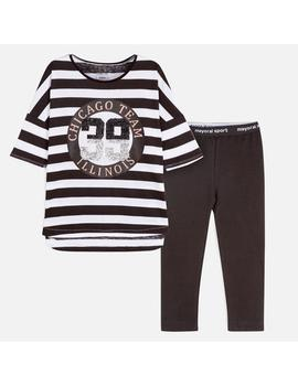 Conj. leggings Rayas Mayoral Negro Kids Niña