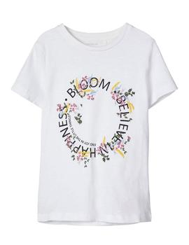 Camiseta Name it Bordada Flores Blanca Kids Niña