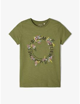 Camiseta Name it Bordada Verde Kids Niña