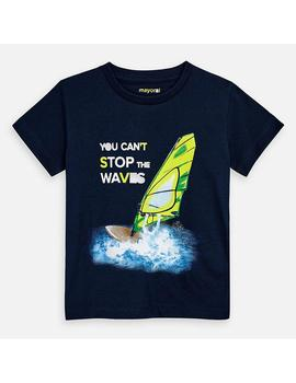 Camiseta Mayoral M/C Waves Marino Mini Niño